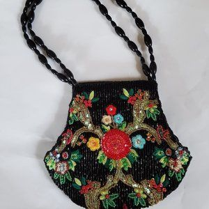 SEQUINED EVENING BAG WITH BEADED HANDLE